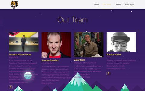 Screenshot of Team Page getprowl.com - Our Team «  Prowl - captured Oct. 3, 2014