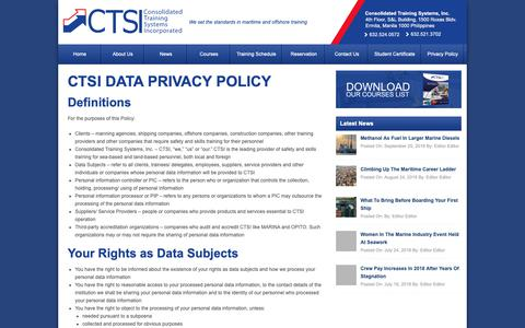 Screenshot of Privacy Page ctsi.com.ph - Privacy Policy - Top Maritime & Offshore Training Center Philippines - CTSITop Maritime & Offshore Training Center Philippines – CTSI - captured Sept. 29, 2018