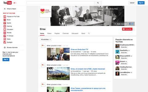 Screenshot of YouTube Page youtube.com - Eirse  - YouTube - captured Oct. 22, 2014