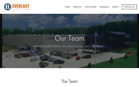 Screenshot of Team Page everlastlight.com - Team — Everlast Lighting | LED High Bay, LED Street and Area and LED Garage Fixture Leaders - captured Nov. 12, 2016