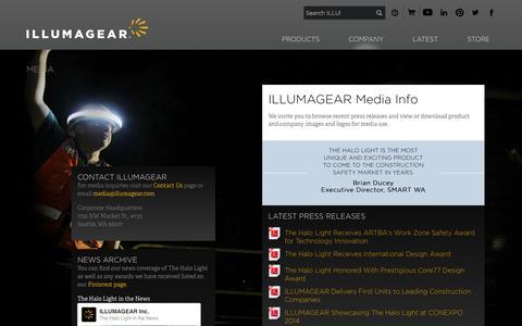 Screenshot of Press Page illumagear.com - Media - ILLUMAGEAR - captured Oct. 29, 2014
