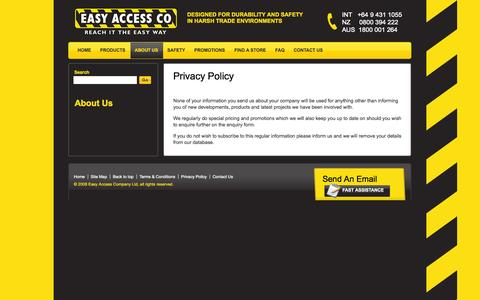 Screenshot of Privacy Page easyaccess.co.nz - Easy Access Company - Privacy Policy - captured Oct. 1, 2014
