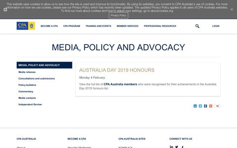 Screenshot of Press Page cpaaustralia.com.au - Media, policy and advocacy | CPA Australia - captured July 7, 2019