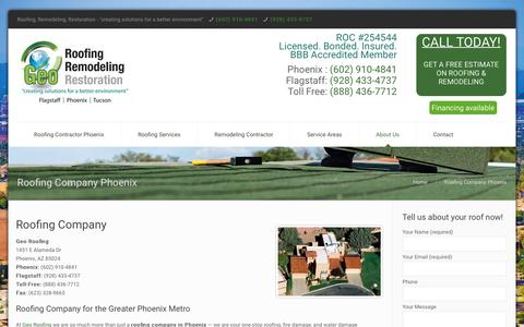 Screenshot of About Page georoofingaz.com - Roofing Company Phoenix | Geo Roofing - captured Oct. 21, 2018