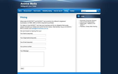 Screenshot of Pricing Page archivemedia.com.au - Pricing | Archive Media - captured Sept. 30, 2014