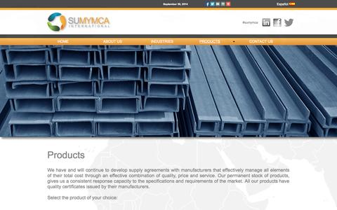 Screenshot of Products Page sumymcainternational.com - Sumymca International I Products - captured Oct. 1, 2014