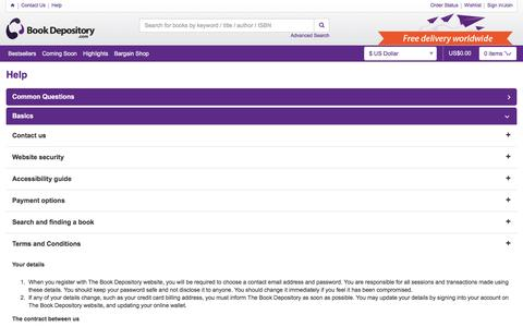 Screenshot of Terms Page bookdepository.com - Help at Book Depository - captured Aug. 20, 2016