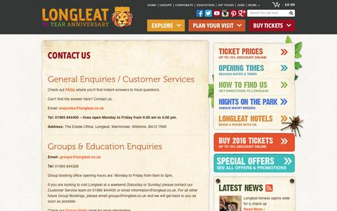 Screenshot of Contact Page longleat.co.uk - Contact Longleat - Longleat postcode - Longleat Safari Park Address - Longleat Safari & Adventure Park - Longleat Safari Park & Adventure Park - captured Jan. 31, 2016