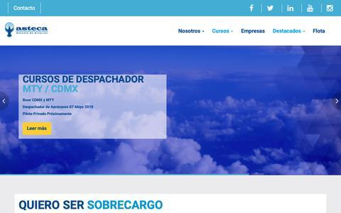 Screenshot of Home Page asteca.com.mx - ASTECA: Escuela aviación - captured Oct. 2, 2018