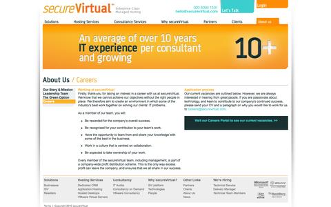 Screenshot of Jobs Page securevirtual.com - Careers - About Us - Secure Virtual - Enterprise Class Managed Hosting - captured Sept. 30, 2014