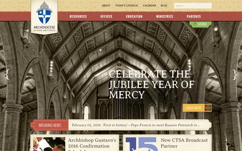 Screenshot of Home Page archsa.org - Wake Up The World | Archdiocese of San Antonio - captured Feb. 6, 2016