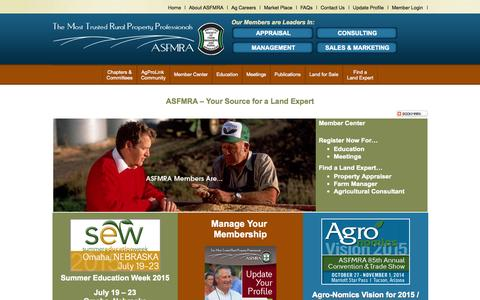 Screenshot of Home Page Terms Page asfmra.org - Land Expert Source - ASFMRA - captured Oct. 4, 2014
