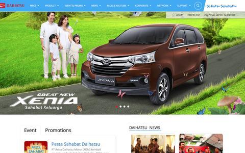 Screenshot of Home Page daihatsu.co.id - Daihatsu Indonesia Produsen Mobil Keluarga Terbaik - captured Jan. 24, 2016