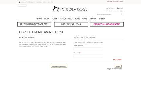 Screenshot of Login Page chelseadogs.com - Customer Login - captured June 10, 2019