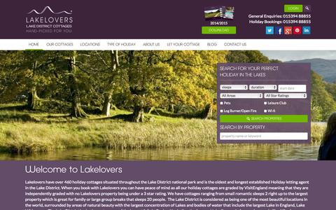 Screenshot of Home Page lakelovers.co.uk - Lake District Cottages, Holidays and Accommodation from Lakelovers - captured Jan. 17, 2015
