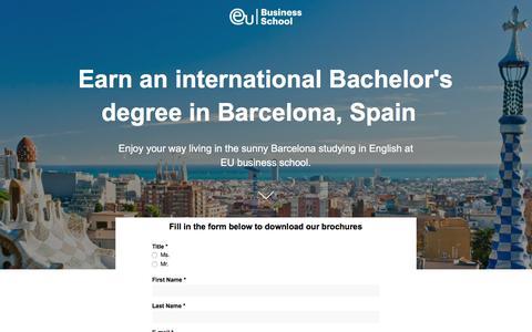 Screenshot of Landing Page euruni.edu - EU Business School - Study your Bachelor's degree in Barcelona - captured Sept. 19, 2018