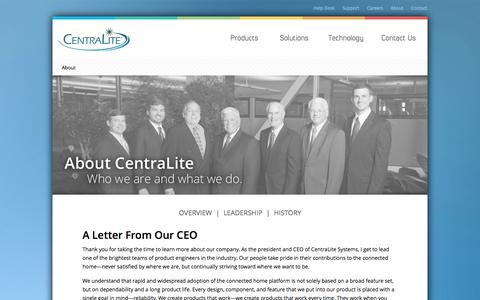 Screenshot of About Page centralite.com - About - captured Nov. 1, 2014