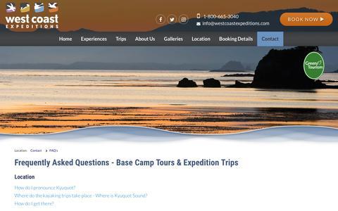 Screenshot of FAQ Page westcoastexpeditions.com - Kayaking Adventure Tours & Wilderness Retreat FAQ's | BC, Canada - captured Oct. 20, 2018