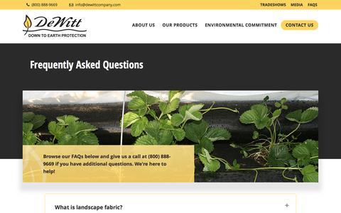 Screenshot of FAQ Page dewittcompany.com - Organic Mulch, Water, Weeds & Fabric Questions - captured June 4, 2017