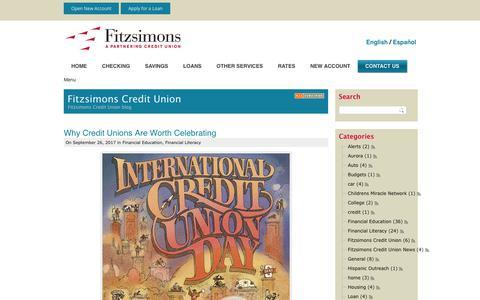 Screenshot of Blog fitzsimonscu.com - Fitzsimons Credit Union > Contact Us > Blog - captured Oct. 14, 2017