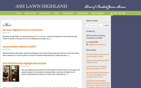 Screenshot of Blog ashlawnhighland.org - Ash Lawn-Highland  – Blog - captured Dec. 26, 2015