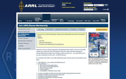 Screenshot of Signup Page arrl.org - Join ARRL/Renew Membership - captured May 28, 2017