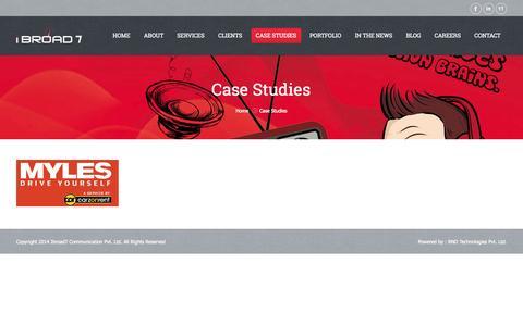 Screenshot of Case Studies Page ibroad7.com - Ibroad7 Communication Pvt. Ltd.     Case Studies - captured Nov. 6, 2014