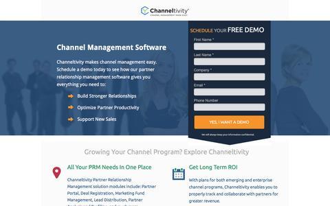 Screenshot of Landing Page channeltivity.com - Channeltivity Channel Management Software - captured April 19, 2016