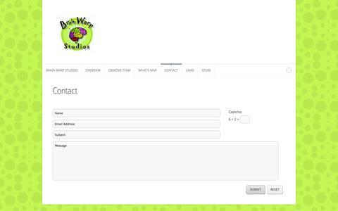 Screenshot of Contact Page brainwarpstudios.com - Contact | Brain Warp Studios- Mind Bending Games - captured Sept. 30, 2014
