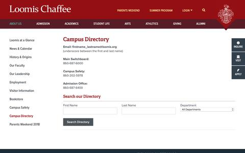Screenshot of Contact Page loomischaffee.org - Campus Directory - The Loomis Chaffee School - captured Oct. 20, 2018