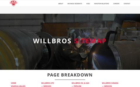 Screenshot of Site Map Page willbros.com - Willbros - Web Sitemap and Complete Page Breakdown - captured Nov. 30, 2016
