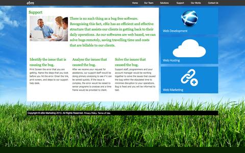 Screenshot of Support Page ebizmarketing.com.sg - eBiz Marketing - Website Design, Website Marketing, Website Hosting - captured March 14, 2016