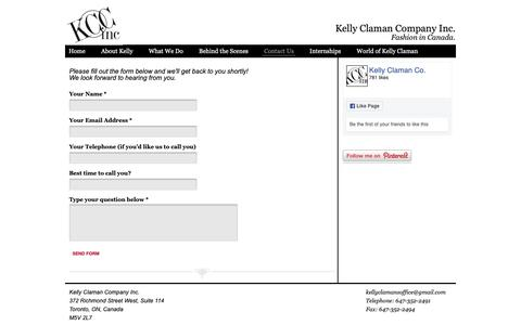 Screenshot of Contact Page kellyclaman.com - Contact Us - captured Oct. 15, 2018