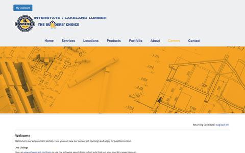 Screenshot of Jobs Page interstatelumber.com - Interstate + Lakeland Lumber - Careers - captured Feb. 13, 2019