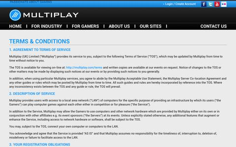 Screenshot of Terms Page multiplay.com - Terms & Conditions - Multiplay : Multiplay - captured Sept. 19, 2014