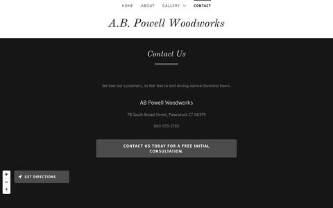 Screenshot of Contact Page abpowellwoodworks.com - Contact   AB Powell Woodworks - captured Dec. 8, 2018