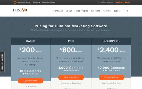 Screenshot of Pricing Page hubspot.com - Product Pricing | HubSpot Software & Services - captured June 16, 2015