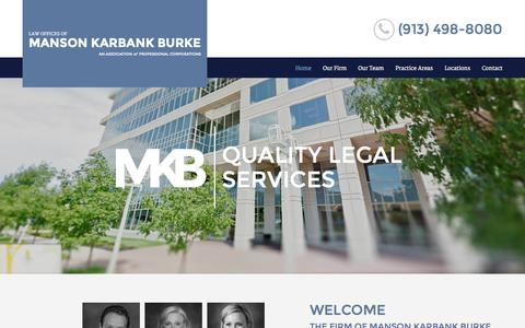 Screenshot of Home Page mkblawkc.com - Law Office Of Manson Karbank Burke | Family Law, General Civil Litigation, & Real Estate Law Attorneys - captured Oct. 13, 2015