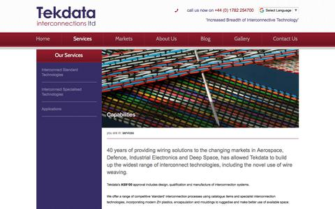 Screenshot of Services Page tekdata-interconnect.com - 40 years of providing wiring solutions to the changing markets  - Tekdata - captured Oct. 27, 2017