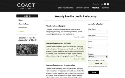 Screenshot of Jobs Page teamcoact.com - Business Growth Consultant Career Opportunities - COACT Associates - captured July 9, 2017