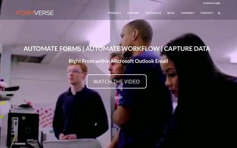 Screenshot of Home Page formverse.com - FORMVERSE - captured Feb. 10, 2016