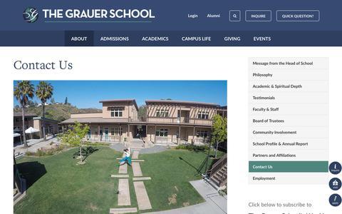 Screenshot of Contact Page grauerschool.com - Contact Us - The Grauer School - captured Oct. 22, 2017