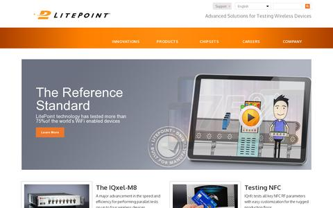 Screenshot of Home Page litepoint.com - LitePoint – - captured July 11, 2014