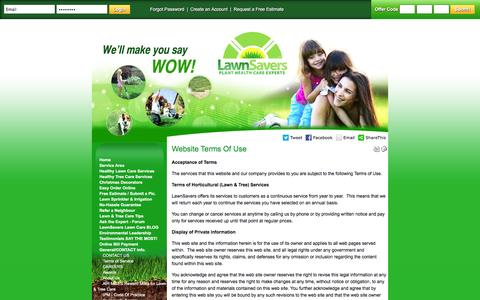 Screenshot of Terms Page lawnsavers.com - Lawn Savers - Toronto Organic Lawn Care - Best Organic Lawn Care Service in Toronto - Website Terms Of Use - captured Dec. 8, 2015