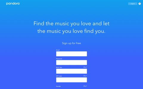 Screenshot of Signup Page pandora.com - Pandora - Listen to Free Music You'll Love. - captured Sept. 13, 2018