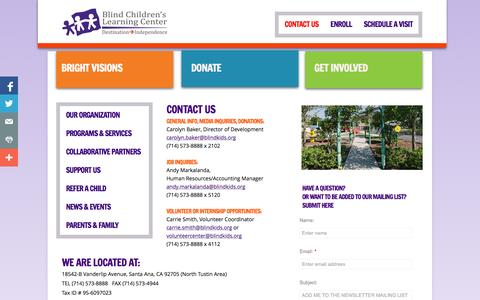 Screenshot of Contact Page Maps & Directions Page blindkids.org - CONTACT US - captured Oct. 23, 2014