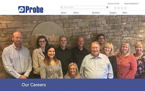 Screenshot of Jobs Page probe1.com - Careers   Jobs   Probe - captured Sept. 11, 2017