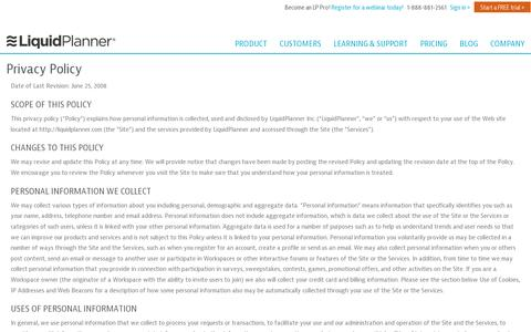 Screenshot of Privacy Page liquidplanner.com - Privacy Policy – LiquidPlanner - captured July 21, 2014