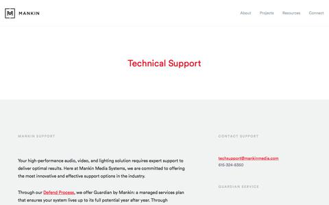 Screenshot of Support Page mankinmedia.com - Technical Support – Mankin Media Systems - captured Feb. 22, 2018