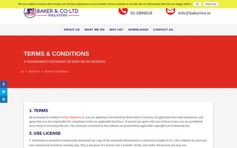 Screenshot of Terms Page atticandwallinsulation.ie - Terms & Conditions - Baker & Co Insulation - captured Oct. 5, 2018
